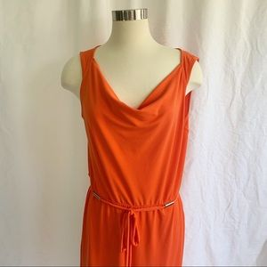 ANN TAYLOR orange midi dress
